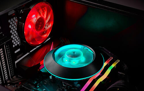 The Cooler Master MasterAir G100M is a low-profile cooler that looks like a UFO