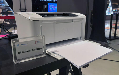 The HP LaserJet Pro M15w is a very small but fast mono laser printer