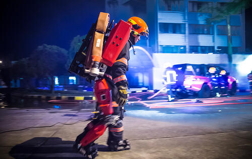 This is the Auberon, a made-in-Singapore firefighting exoskeleton