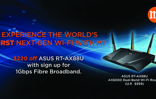 Get the new ASUS RT-AX88U at a discount with every M1 1Gbps fiber plan sign-up!