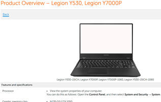 A listing for Lenovo's Legion laptop points to an NVIDIA GeForce GTX 1160 GPU