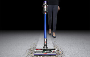 The Dyson V11 cord-free vacuum is able to change its suction power automatically as it moves between surfaces