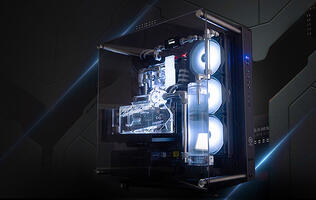 Aftershock's Explorer desktop comes with custom liquid-cooling by default