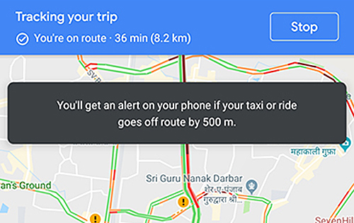 Google Maps may alert you if your taxi driver takes you for a ride