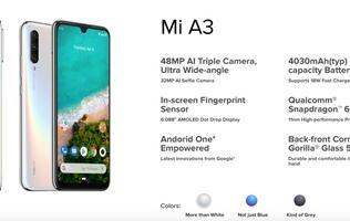 Xiaomi brings triple rear cameras and in-display fingerprint sensor to the Mi A3