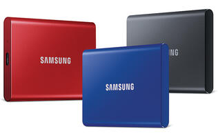 The Samsung SSD T7 supports USB 3.2 Gen 2 and offers sequential write speeds of up to 1,000MB/s
