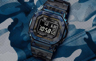 The latest version of the G-Shock GMW-B5000 comes in a blue ion-plated titanium case with camo print