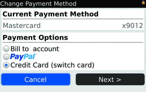 blackberry app world without paypal